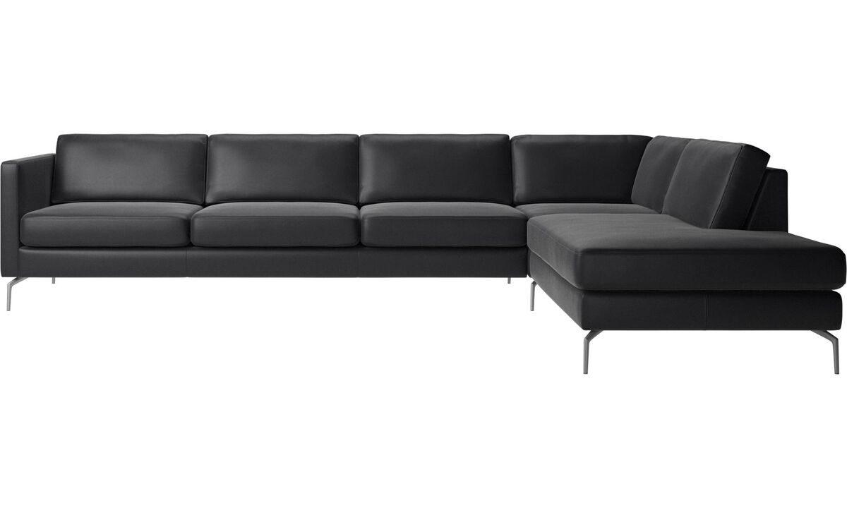 New designs - Osaka corner sofa with lounging unit, regular seat - Black - Leather
