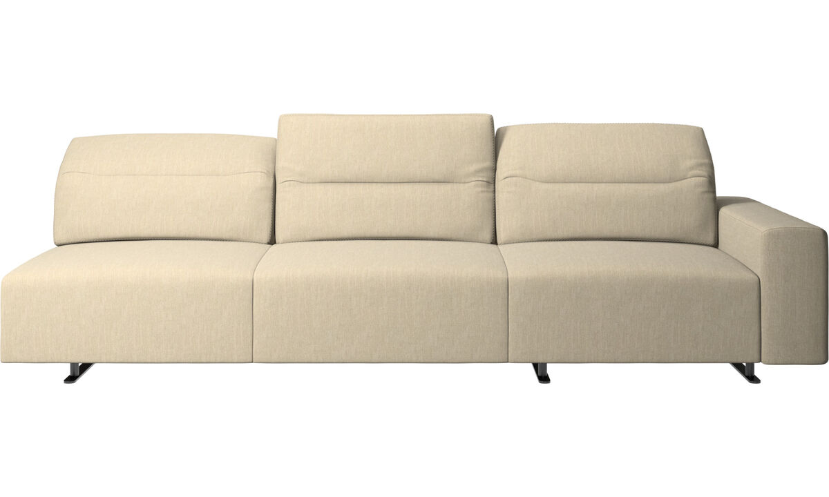 3 seater sofas - Hampton sofa with adjustable back and storage on the right side - Brown - Fabric