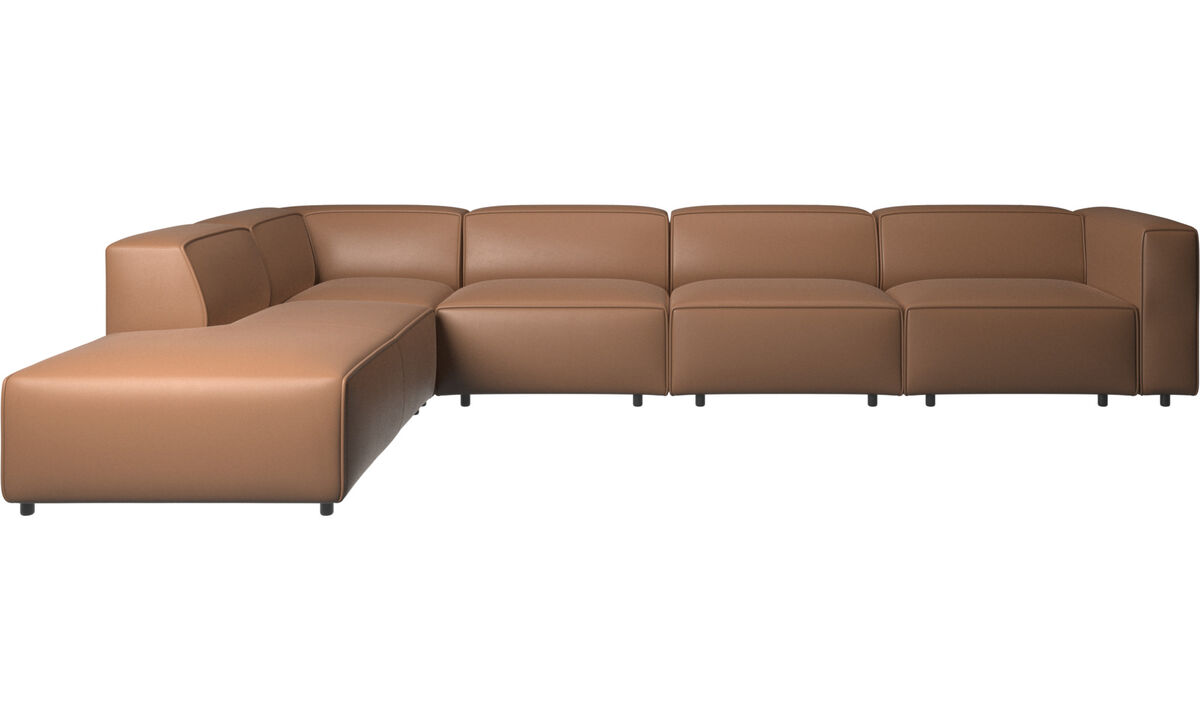 Sofas with open end - Carmo motion corner sofa - Brown - Leather