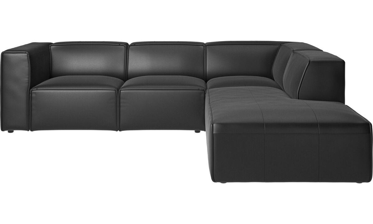 Sofás reclinables - Sofá esquinero Carmo con movimiento - En negro - Piel