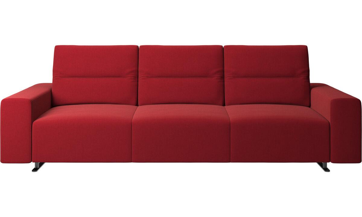 Sofás de 3 lugares - Sofá Hampton com encosto ajustável - Vermelho - Tecido