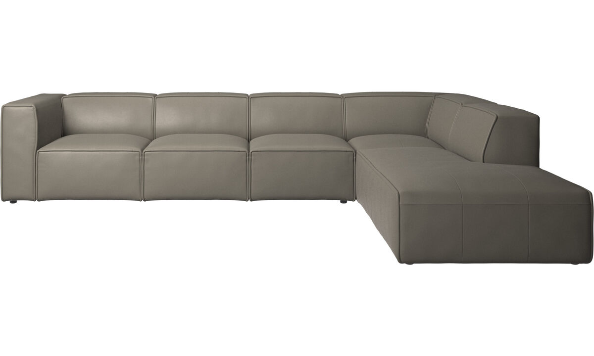 Sofas with open end - Carmo corner sofa with lounging unit - Grey - Leather