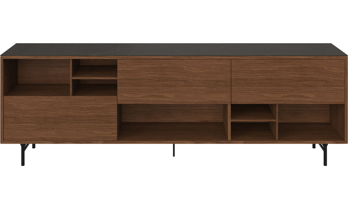 Sideboards - Manhattan sideboard with top plate - Black - Walnut