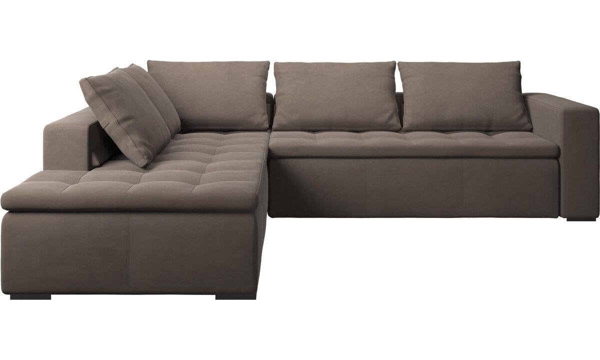 Corner sofas - Mezzo corner sofa with lounging unit - Gray - Leather