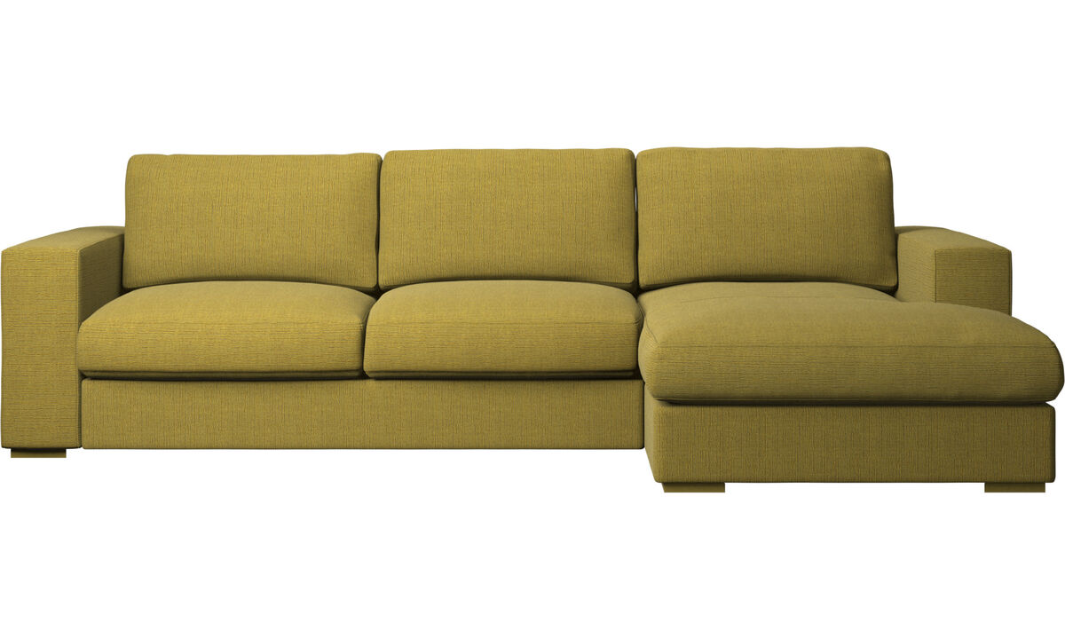 Chaise lounge sofas - Cenova sofa with resting unit - Yellow - Fabric
