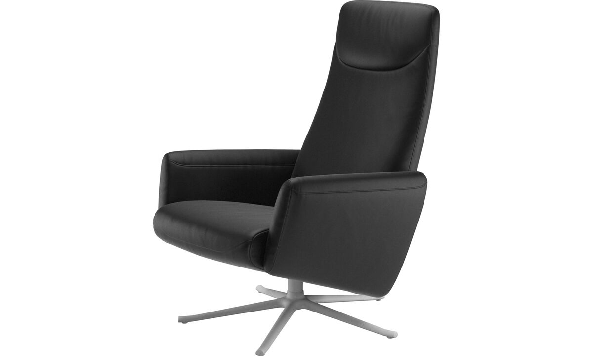 Armchairs - Lucca recliner with swivel function - Black - Leather