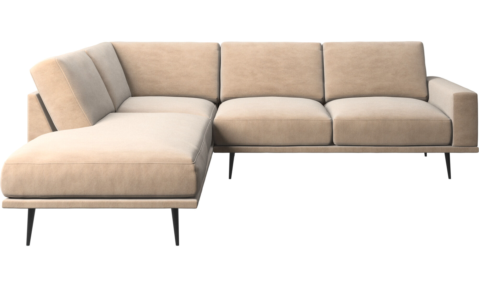 Superb Sofas With Open End   Carlton Sofa With Lounging Units   Beige   Fabric