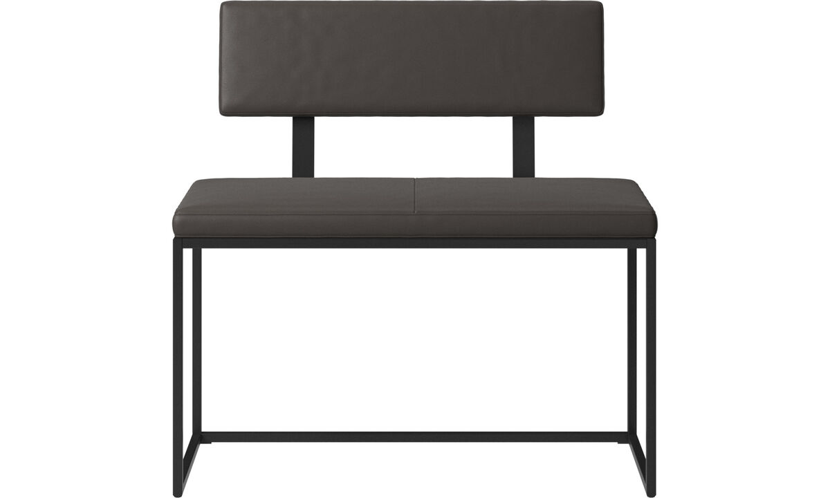 Benches - London small bench with cushion and backrest - Brown - Leather