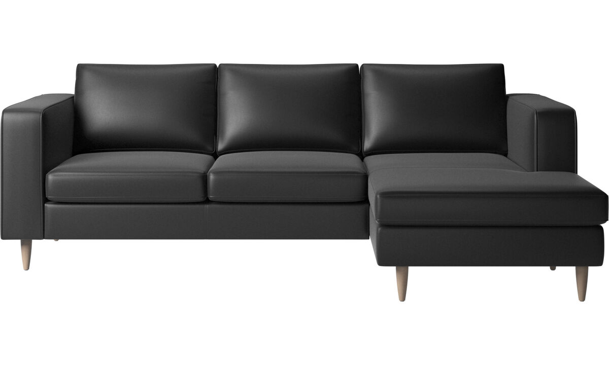 New designs - Indivi 2 sofa with resting unit - Black - Leather