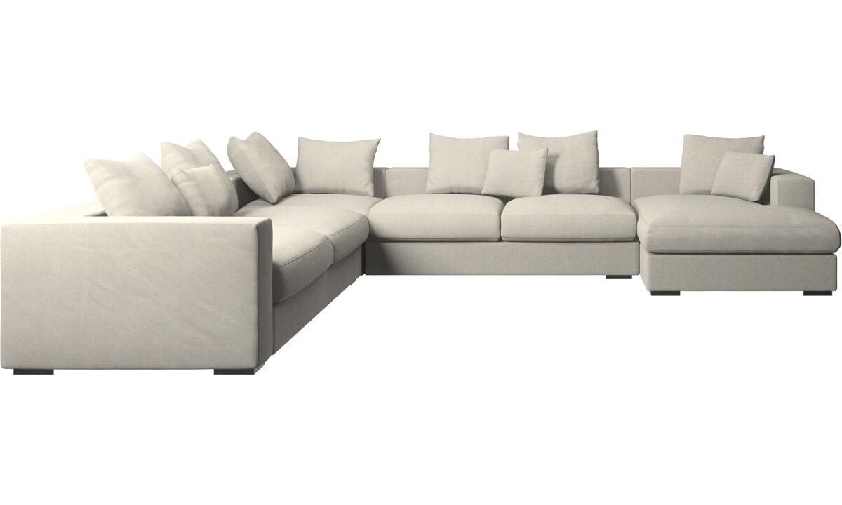 贵妃沙发 - Cenova 带倚靠单元的转角沙发 - 白色 - 布艺