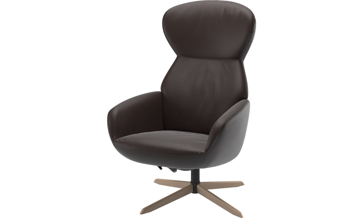 Armchairs - Athena chair with reclining back function and swivel base - Brown - Leather