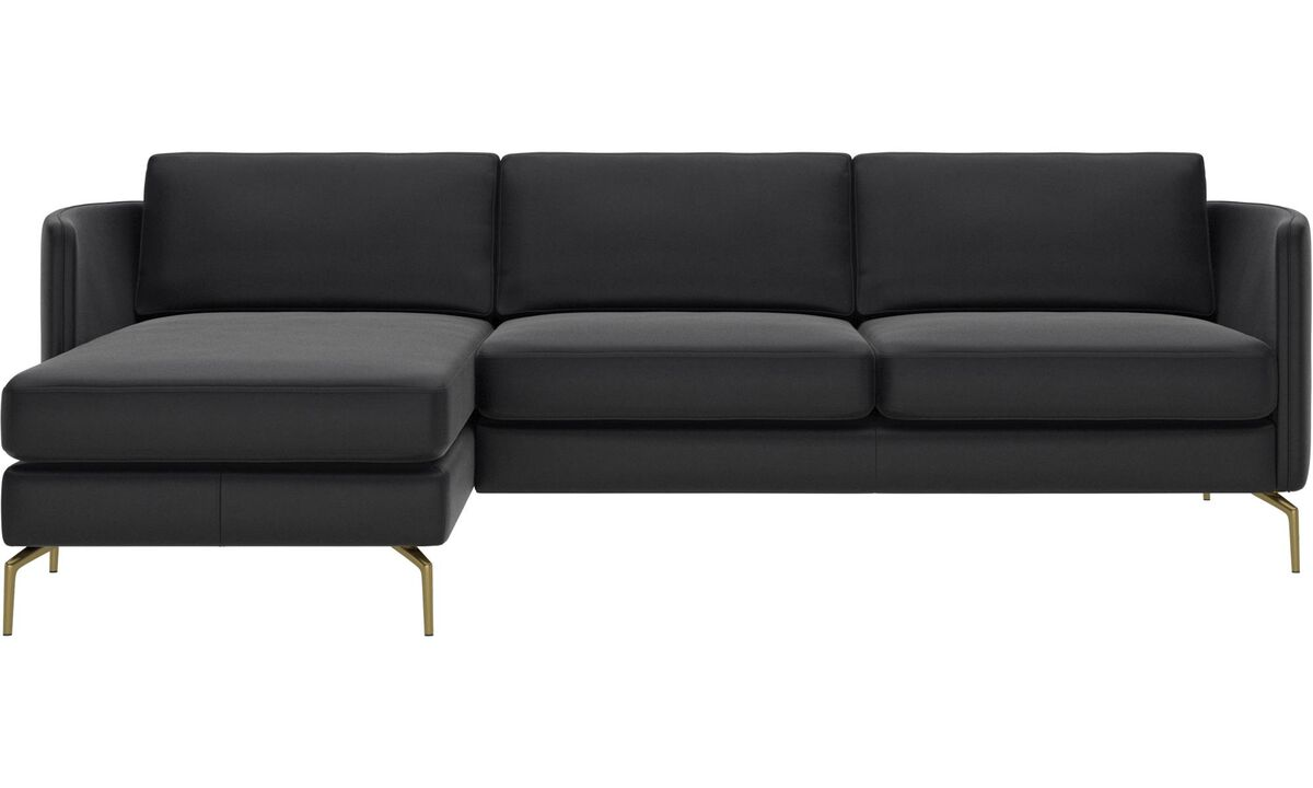 Chaise lounge sofas - Osaka sofa with resting unit, regular seat - Black - Leather