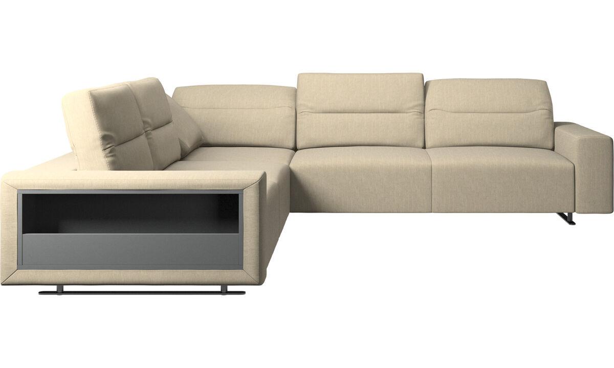 Sofás esquineros - Sofá esquinero Hampton con respaldo ajustable y almacenamiento - En marrón - Tela