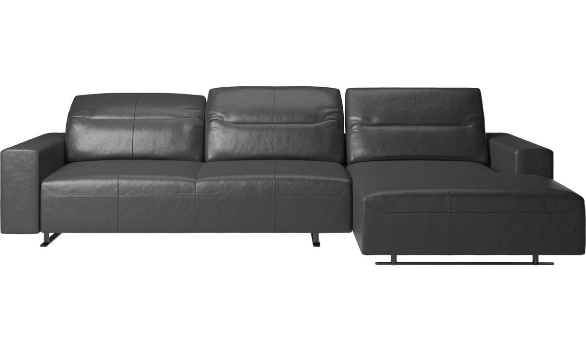 Chaise longue sofas - Hampton sofa with adjustable back and resting unit right side, storage left side - Black - Leather