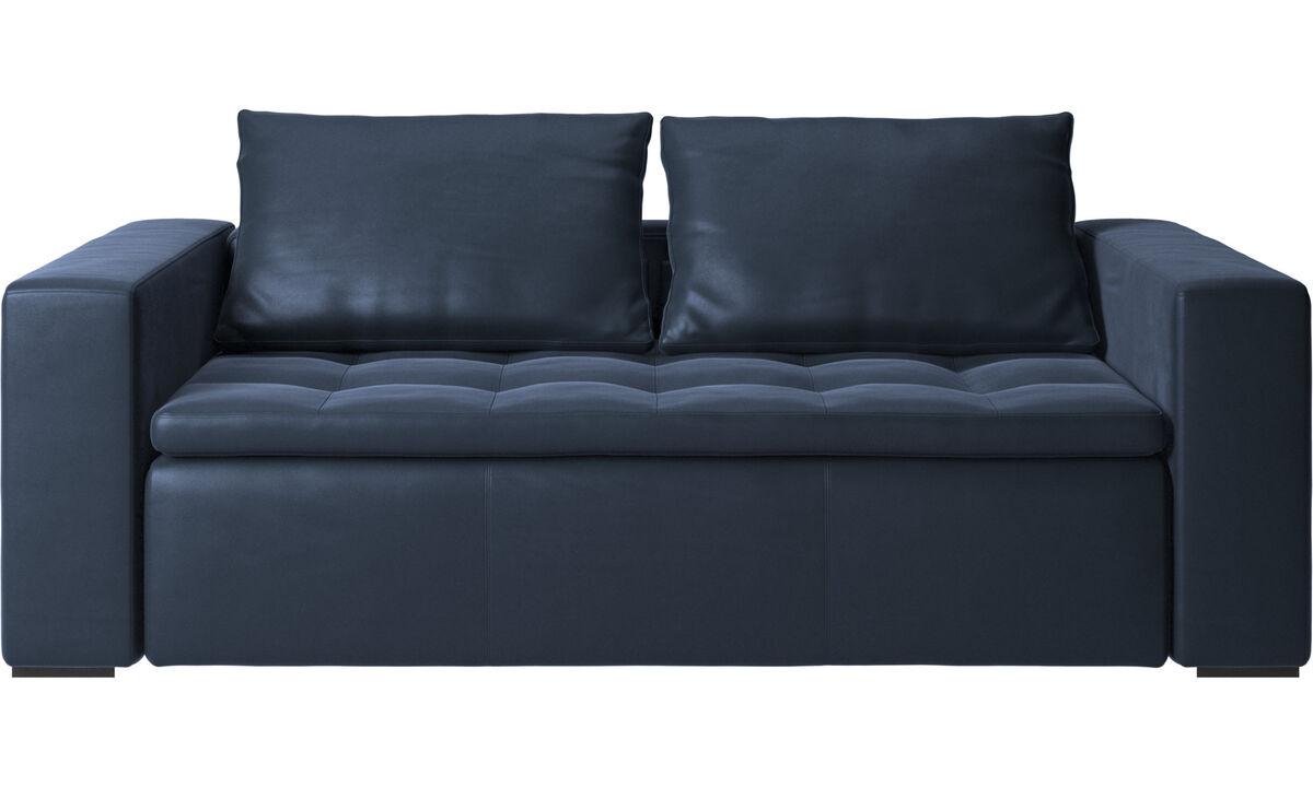 Sofás de 2 plazas y media - sofá Mezzo - En azul - Piel