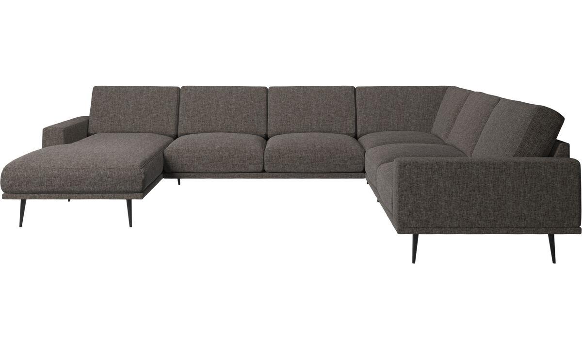 Sofás esquineros - Sofá esquinero Carlton con módulo chaise-longue - En marrón - Tela