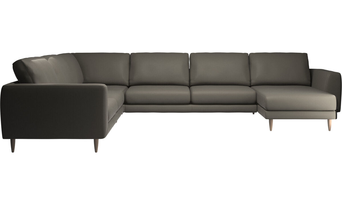 Chaise lounge sofas - Fargo corner sofa with resting unit - Grey - Leather
