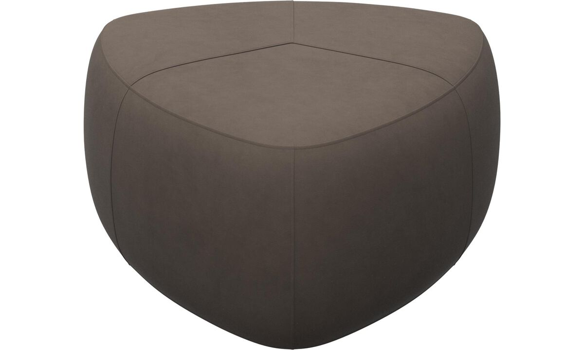 Armchairs and footstools - Bermuda ottoman - Gray - Leather