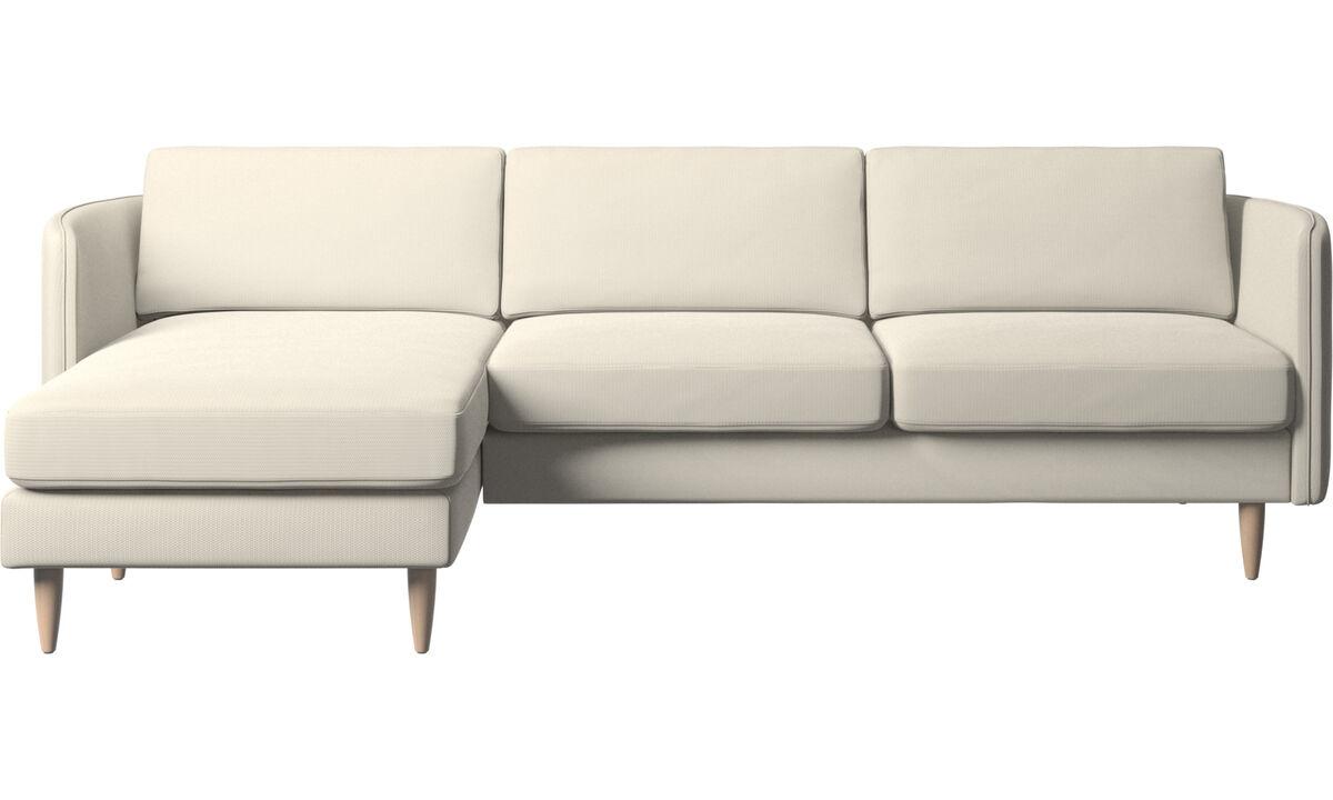 Canapés avec chaise longue - canapé Osaka avec chaise longue, assise classique - Blanc - Tissu