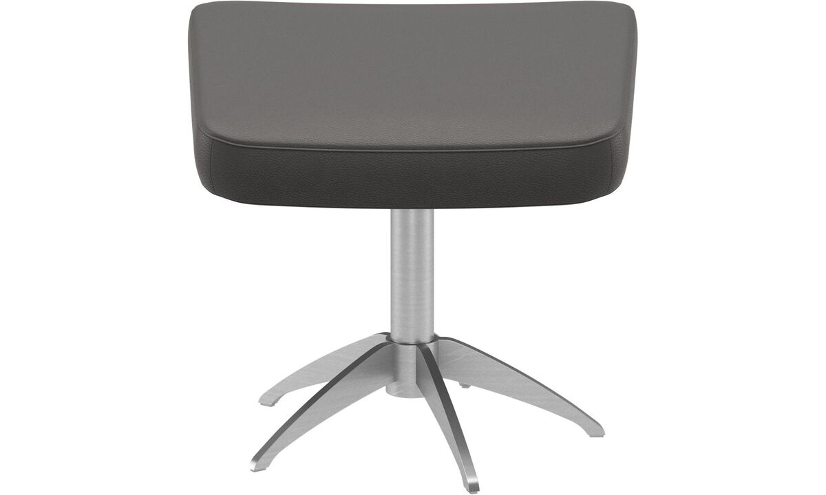 New designs - Harvard footstool - Grey - Leather