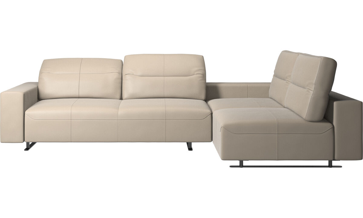 Corner sofas - Hampton corner sofa with adjustable back and storage on right side - Beige - Leather