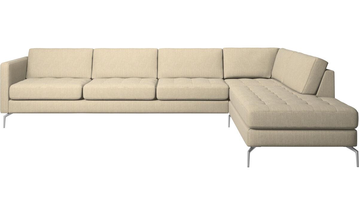 Sofas with open end - Osaka divano ad angolo con modulo relax, seduta trapuntata - Marrone - Tessuto