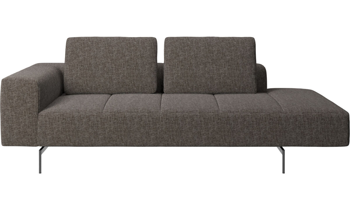 Modular sofas - Amsterdam resting module for sofa, armrest left, open end right - Brown - Fabric