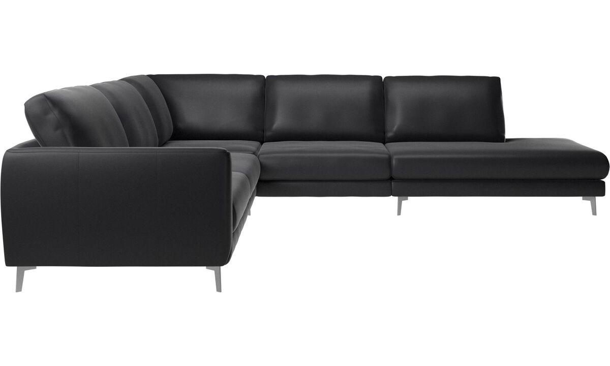 Corner sofas - Fargo corner sofa with lounging unit - Black - Leather