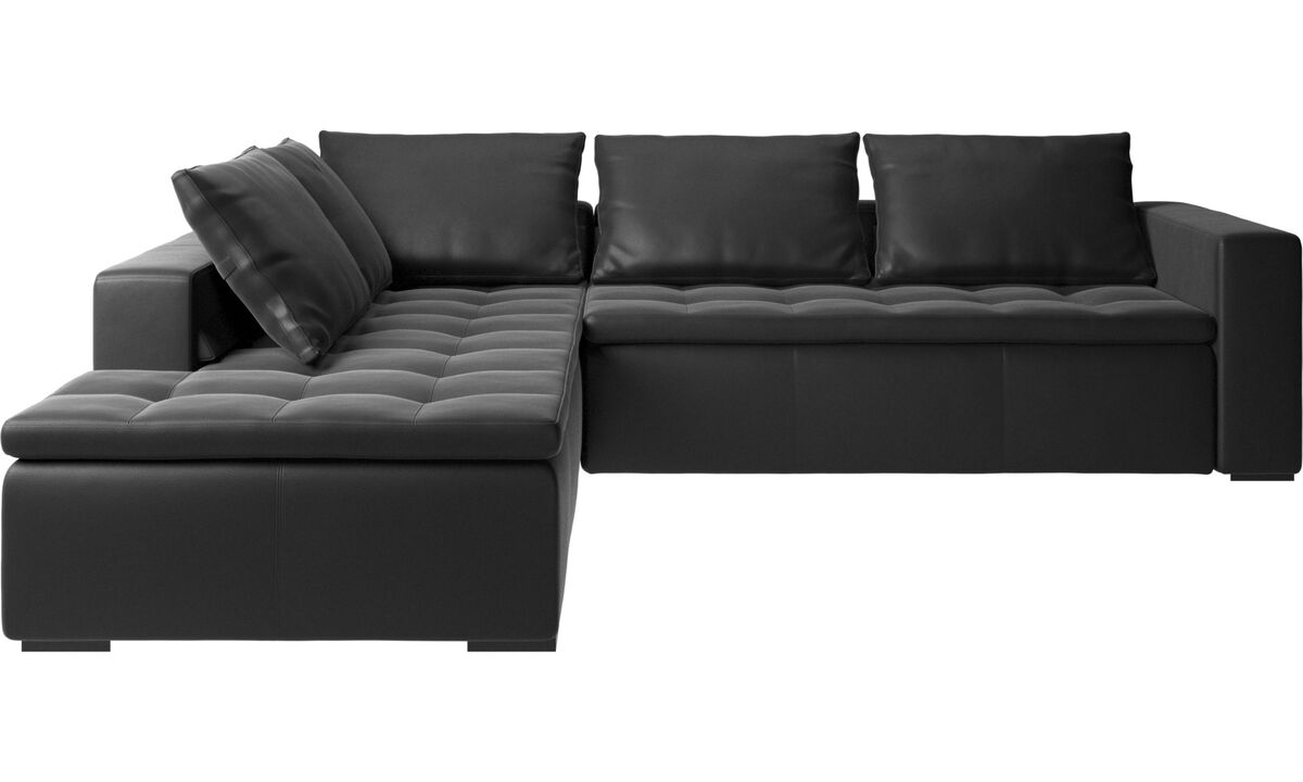 Corner sofas - Mezzo corner sofa with lounging unit - Black - Leather