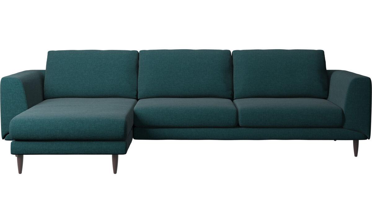 Sofás con chaise longue - sofá Fargo con módulo chaise-longue - En azul - Tela