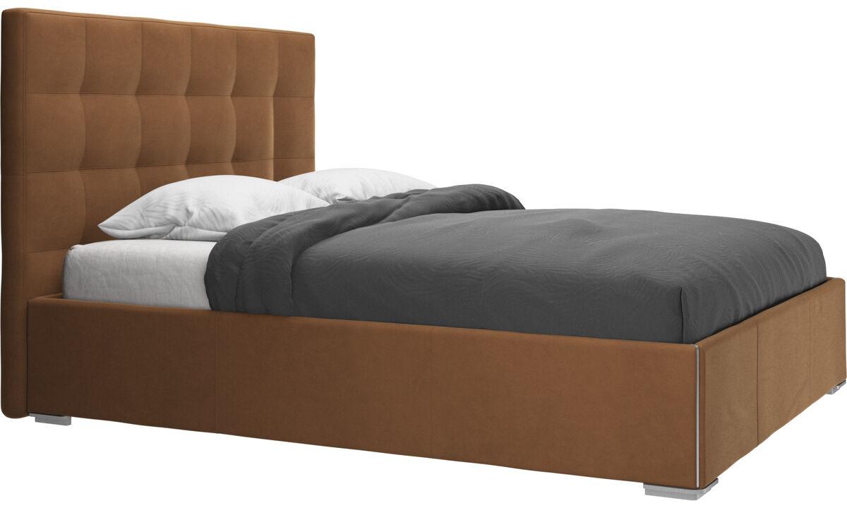 Camas - cama con canapé Mezzo, estructura elevable y tablado, no incluye colchón - En marrón - Piel