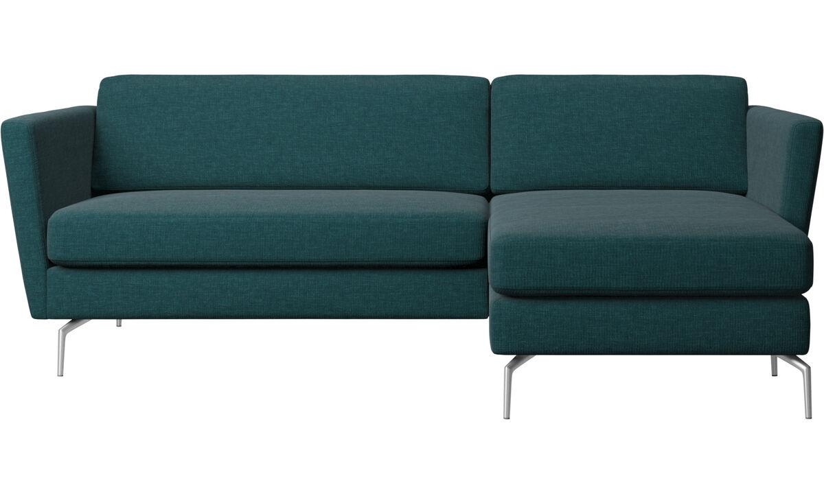 Chaise longue sofas - Osaka sofa with resting unit, regular seat - Blue - Fabric