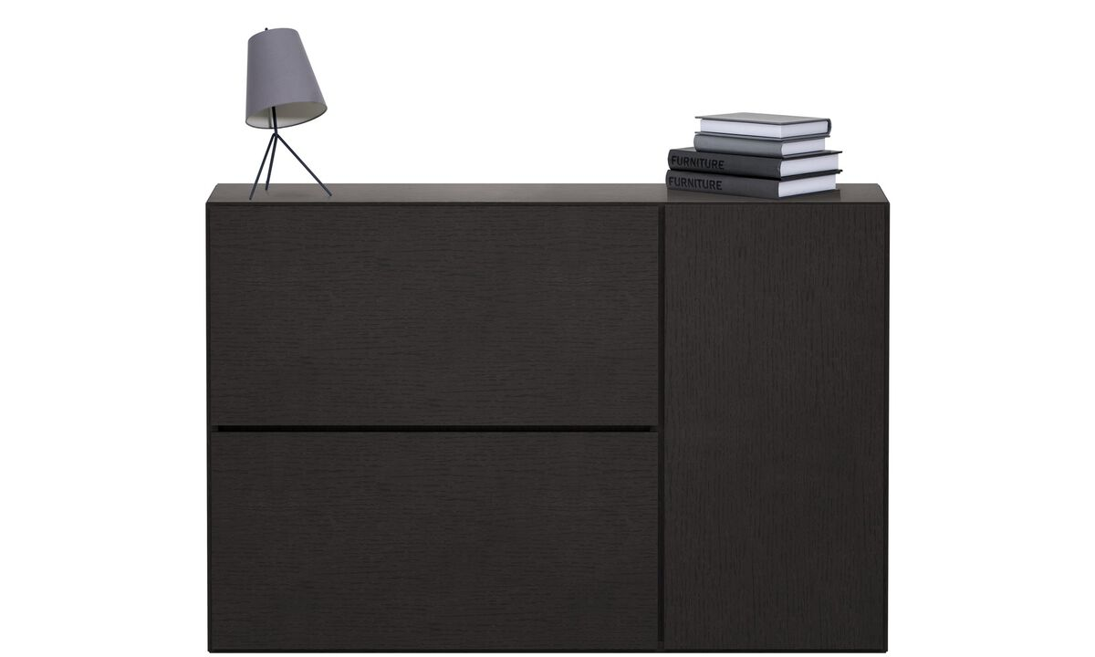 Wall systems - Lugano wall mounted wall system - Black - Oak