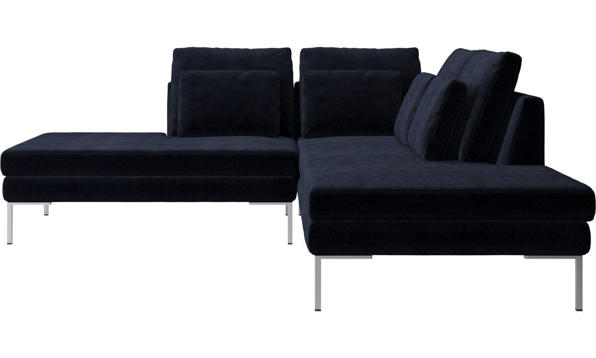 Sofás con lado abierto - sofá Istra 2 con módulo de descanso - En azul - Tela