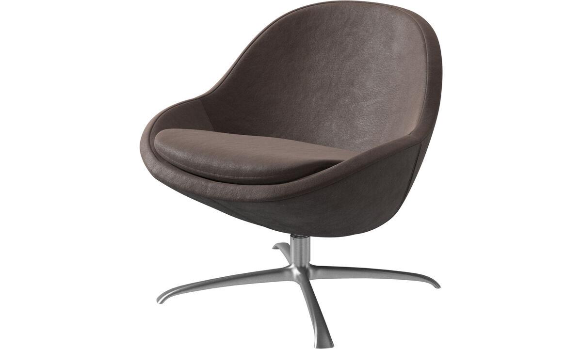 Fauteuils - Veneto  fauteuil met draaivoet - Bruin - Leder