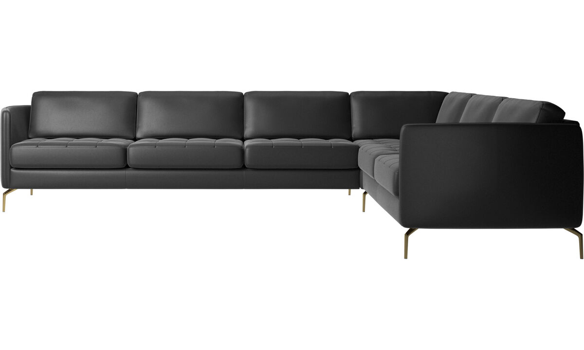 Corner sofas - Osaka corner sofa, tufted seat - Black - Leather