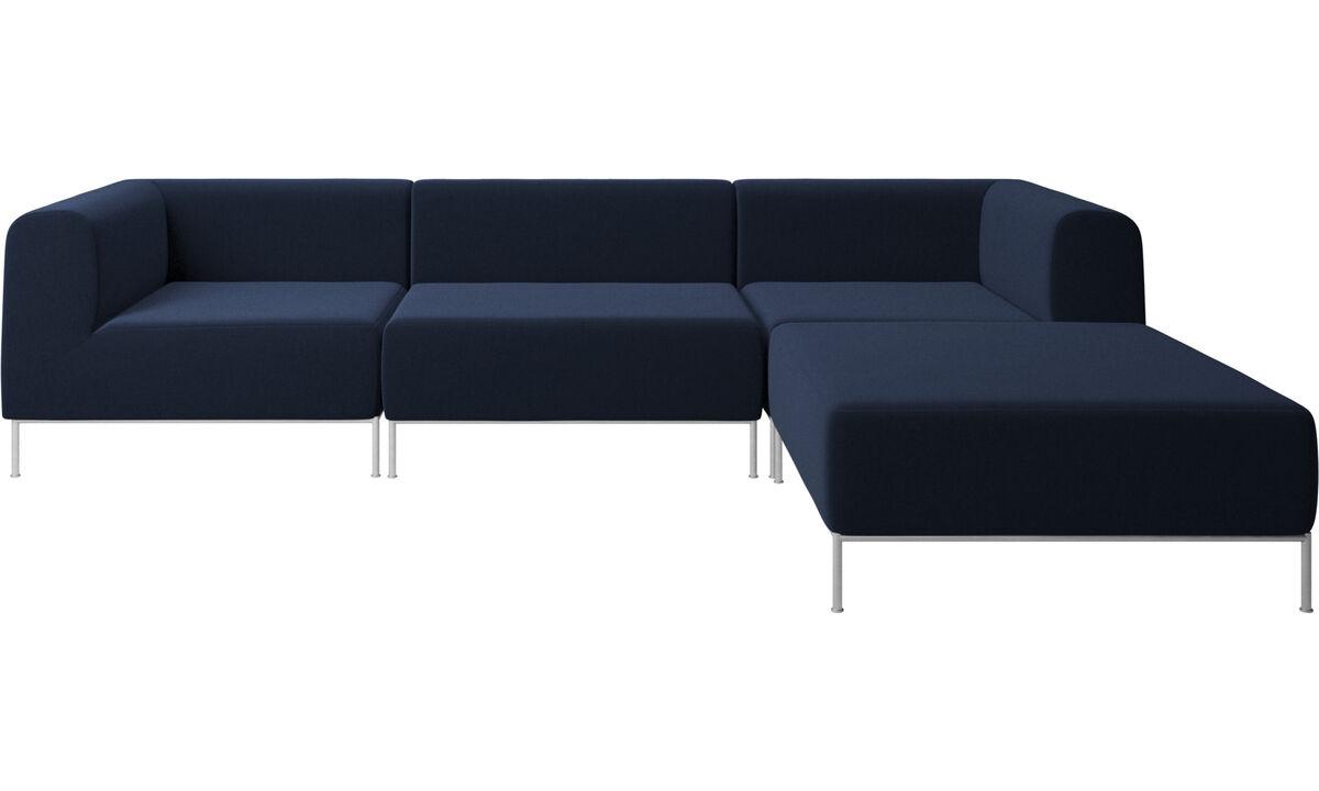 Sofas with open end - Divano Miami con pouf sul lato destro - Blu - Tessuto