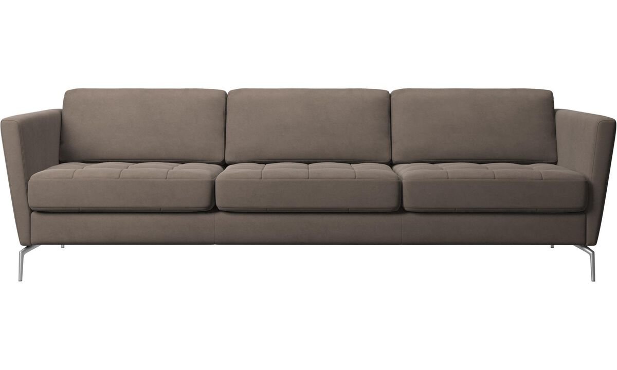 3 seater sofas - Osaka sofa, tufted seat - Gray - Leather