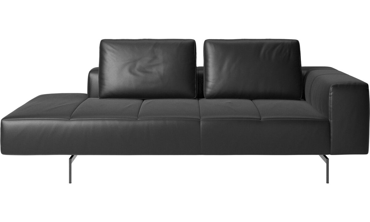 Chaise lounge sofas - Amsterdam resting module for sofa, large armrest left - Black - Leather