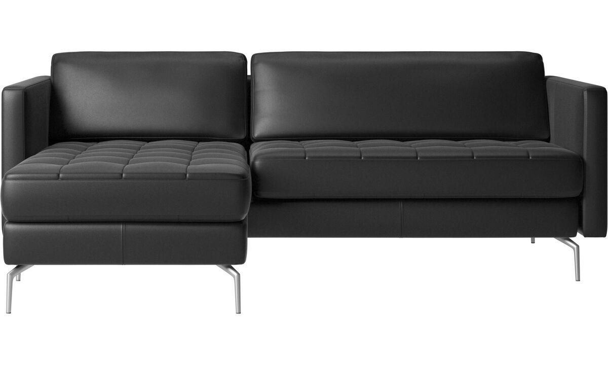 Sofas mit Récamiere - Osaka Sofa mit Ruhemodul, getuftete Sitzfläche - Schwarz - Leder