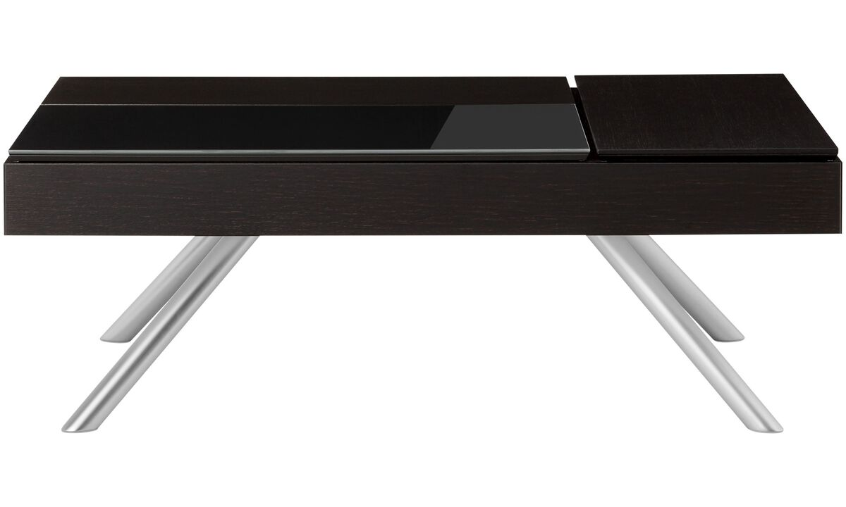 Coffee tables - Chiva functional coffee table with storage - square - Black - Oak