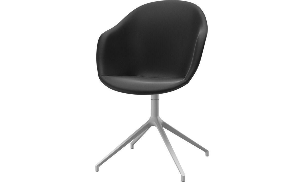 Обеденные стулья - cтул Adelaide с функцией вращения - Черного цвета - Кожа