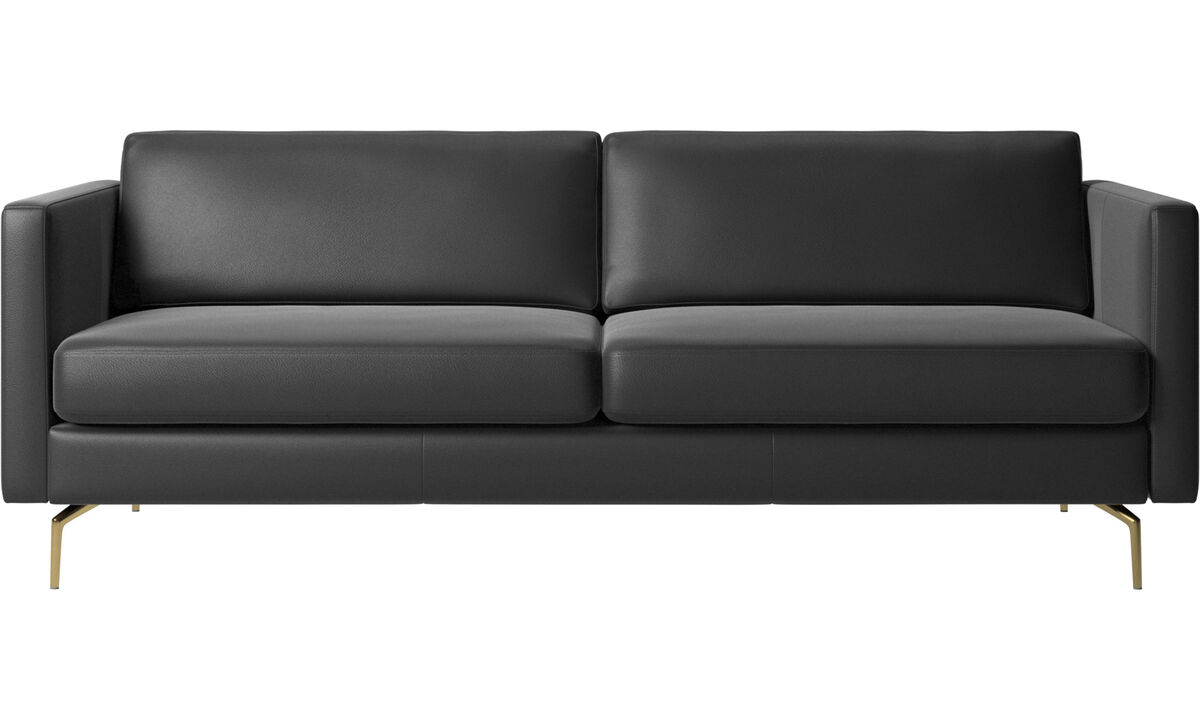 2.5 seater sofas - Osaka sofa, regular seat - Black - Leather