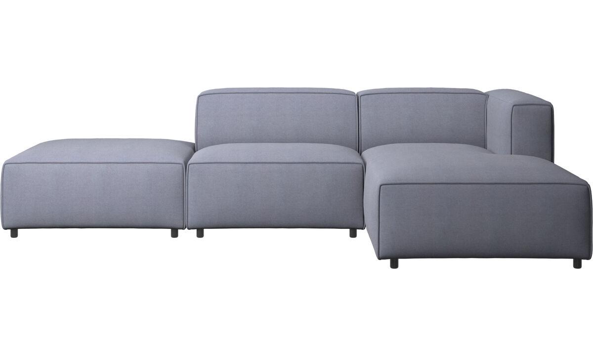 Sofás modulares - Sofá Carmo con módulo chaise-longue - En azul - Tela