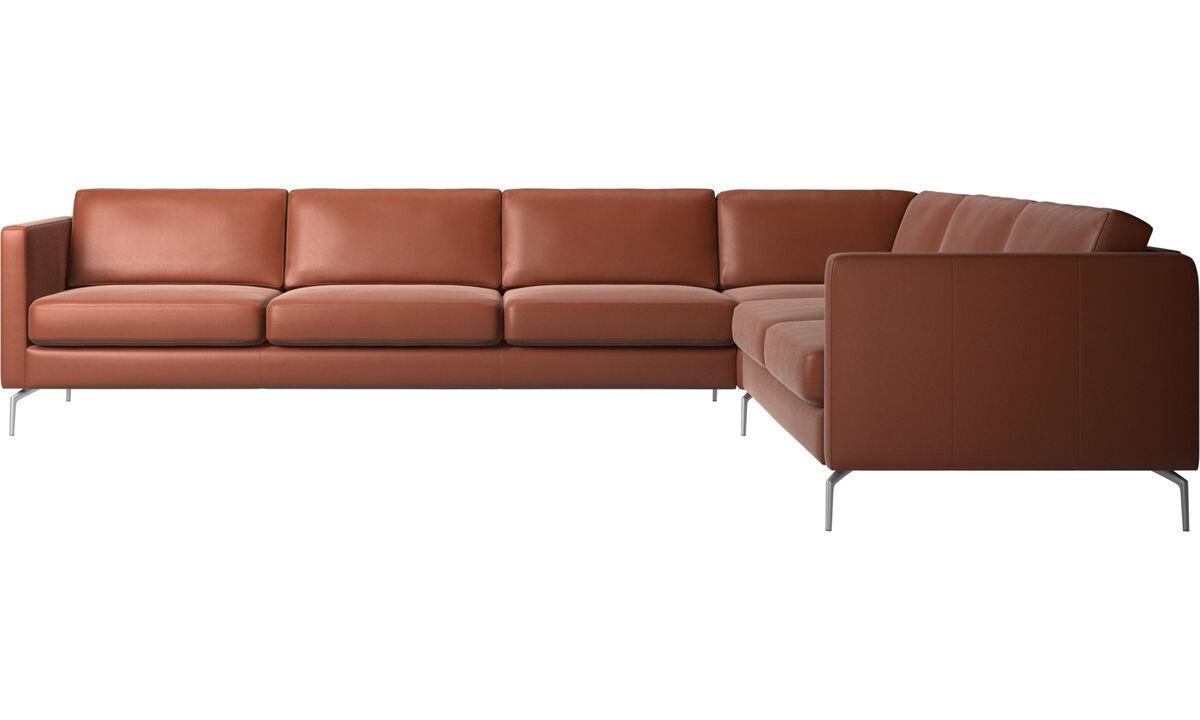Sofás esquineros - sofá esquinero Osaka, asiento regular - En marrón - Piel