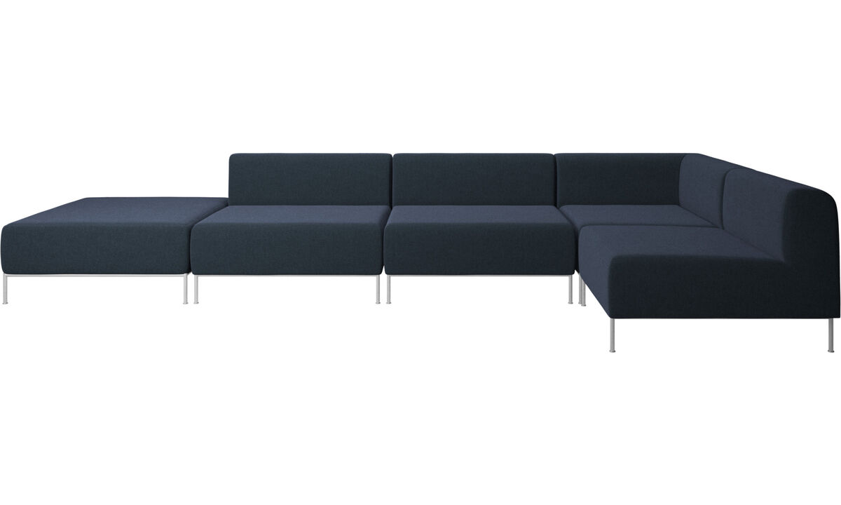 Corner sofas - Miami corner sofa with pouf on left side - Blue - Fabric