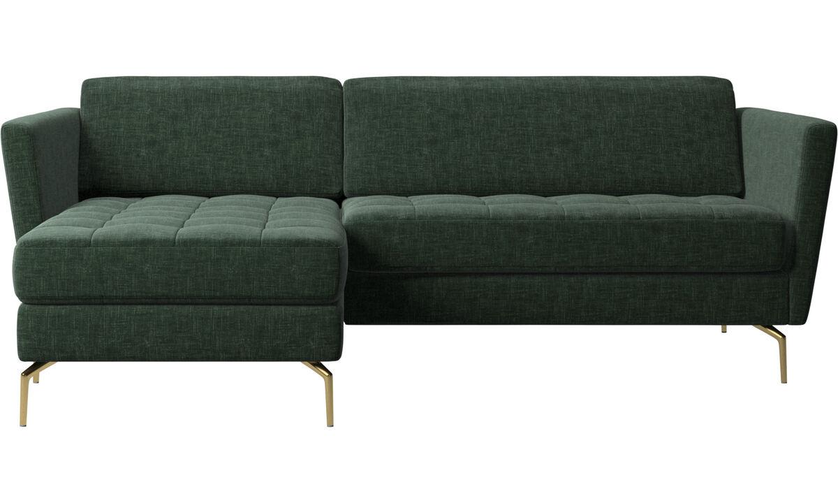 Szezlongi - sofa Osaka z szezlongiem, pikowane siedzisko - Zielony - Tkanina