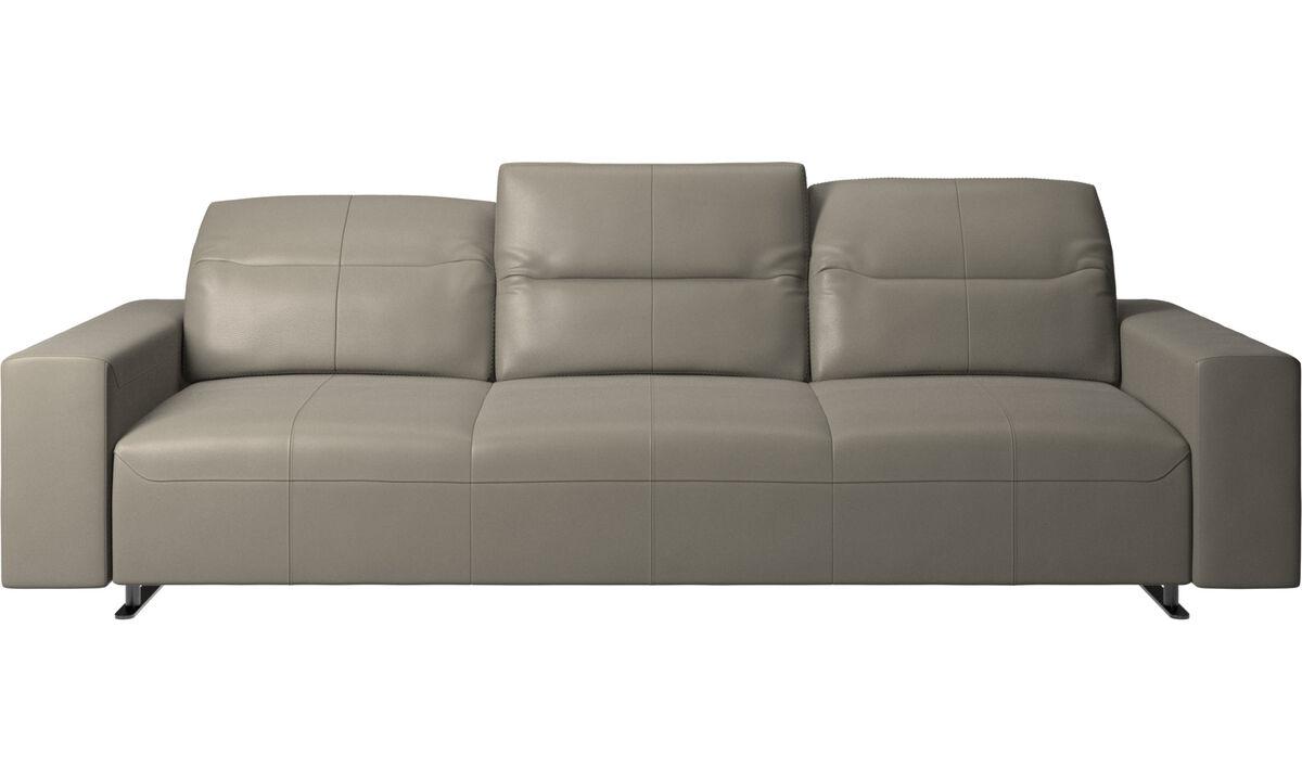 Sofás de 3 plazas - Sofá Hampton con respaldo ajustable y almacenamiento en lado derecho - En gris - Piel