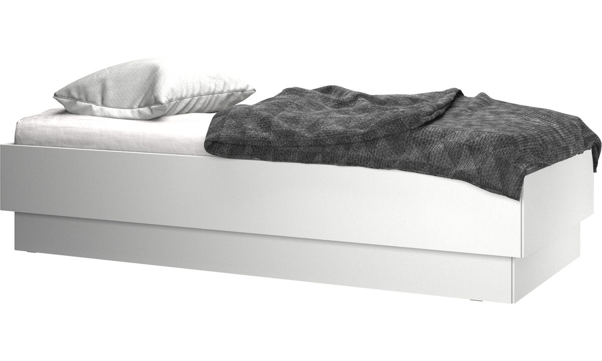 New beds - Lugano storage bed with lift-up frame and slats, excl. mattress - White - Lacquered
