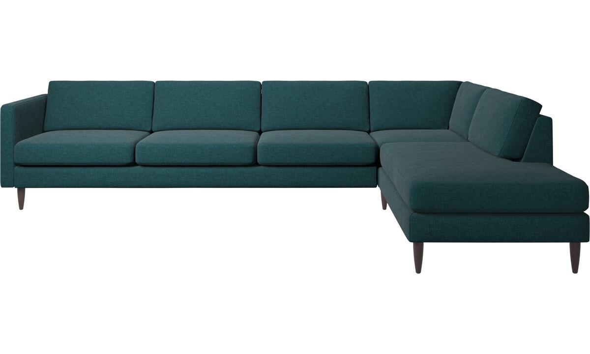 Sofas with open end - Osaka divano ad angolo con modulo relax, seduta liscia - Blu - Tessuto